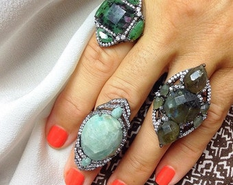 Natural Stone Micropave Ring - İndex Finger Ring - Turquoise Natural Stone Ring - R0689BG