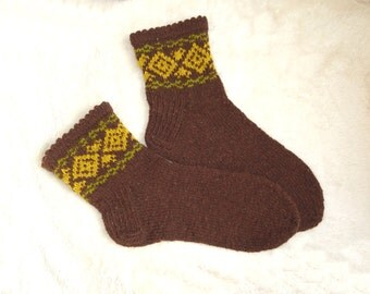 SALE Knitted socks ! Latvia traditional socks. brown wool socks. Warms winter boot socks. Christmas gift socks.