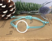 Sterling Silver Beaded Wire Circle Turquoise Cord Bracelet with Adjustable Macrame Knot Closure