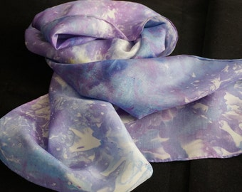 hand dyed silk scarf, ice-dyed silk scarf, hand dyed scarf, 100%silk scarf, scarf, scarves, ladies  scarf, fashion scarves, neck scarf