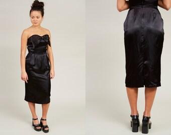 80s Black Silk Satin Strapless Sheath Dress with Sweetheart Bow • XS