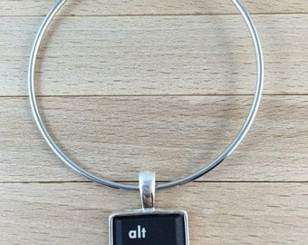 Personalized Techie Keyboard Bracelet With Computer Key Charm