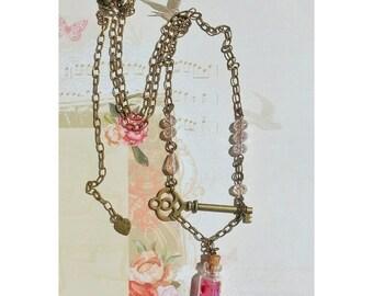 Love potion key glass bottle vintage necklace