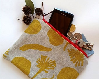 Zipper pouch/make up pouch/coin purse linen with cotton lining hand screen printed