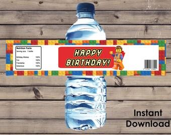 Lego Party Water Bottle Label DIY Instant Download