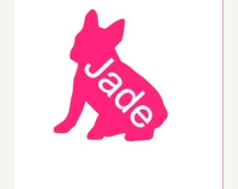 French Bulldog Decal, French Bulldog, French Bulldog Decal, Custom Decal, Vinyl Decal, Personalized Decal, Name Decal