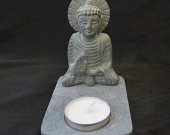 Buddha Soapstone Tea Light Candle Holder for meditation, healing and Reiki