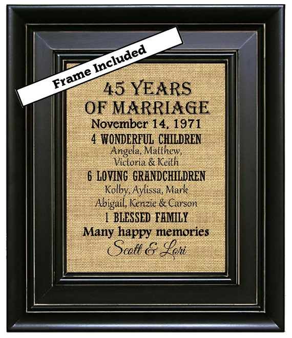 45 Wedding Anniversary Gift For Parents: FRAMED 45th Anniversary Gift/45 Year Anniversary By
