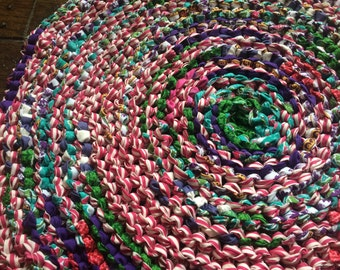 Pink, Teal, and Purple Rag Rug
