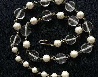 Clear pale pink beads and pearl necklace / adjustable