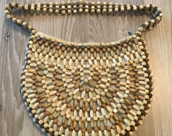Wooden beaded purse with beaded handle