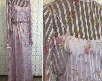1970 long maxi dress with satin and sheer stripes, high collar, long sleeves - purple with pink flowers - measurements in details