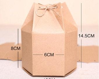 70pcs/lot 12*8*14.5cm fashion Big size Hexagon kraft paper biscuit pacakging box,gift&food packaging box