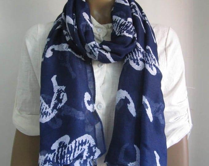 Valentine gift Lightweight Blue Scarf Soft Scarf Seahorse Scarf Winter Blue Scarf Holiday Fashion Animal Print Scarf Blue Shawl