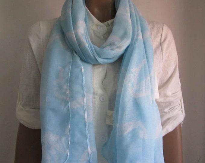 Light Blue Scarf Lightweight Scarf Sky Blue Scarf Animal Print Scarf Sky Blue Winter Scarf Seahorse Scarf Holiday Fashion SkyBaby Blue scarf