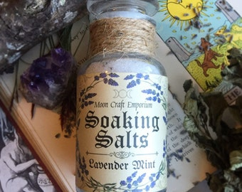 Bath Salts- Lavender & Mint Essential Oil ~ Relaxing ~ Natural ~ Sleep ~ Cleansing ~ Stress Relief ~ Witchy