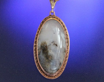Gold Plume Agate Copper Pendant Handcrafted