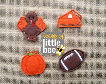 fall thanksgiving feltie value custom set with 4x4 and 5x7 hoop multiples. digital design Instant Download! football, turkey, pumpkin pie