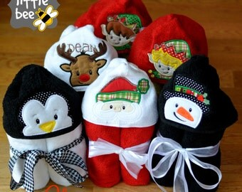 hooded towel applique design SET: snowman, santa, penguin, reindeer, elf boy & girl embroidery edge peeker 4x4 5x7 7x7 Instant Download