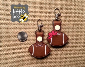 football and bow Thanksgiving fall MINI snap tab key fob keychain embroidery design sew pes dst +more Instant Download! bean stitch