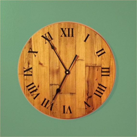 wood wall clock 16 wide lake house decor stained cypress wall hanging clock clock for lake. Black Bedroom Furniture Sets. Home Design Ideas