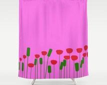 Poppies pink shower curtain-Flowers curtain-Cool poppy curtain-Etsy gift-modern bathroom curtain-Designer Bathroom decor-Colourful bath