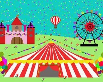 Circus Ferris Wheel Castle poster-Children room decor-Nursery-Kids deco print-Decorative Art Print-Colourful Large Print-Cool Glicee Print