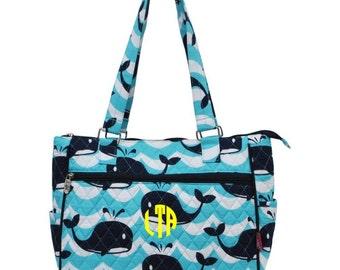 Monogram Whale Handbag Messenger Bags Purse Pocketbook Sailor Sea Ocean Waves Diaper Bag