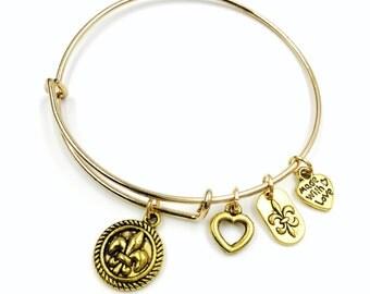 Gold Plated Fleur de Lis Heart Ring Fleur Plaque Charm Expandable Wire bangle Bracelet
