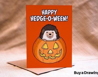 Halloween Hedgehog Card - HAPPY HEDGE-O-WEEN - Hedgehog Halloween Card - Hedgehog Happy Halloween Card