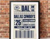Dallas Cowboys Retro Ticket Print