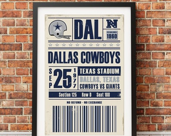 Dallas Cowboys Retro Ticket Print