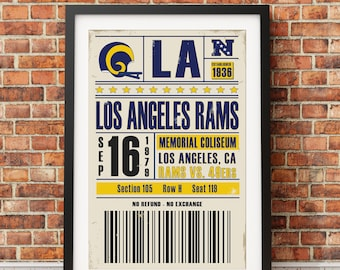 Los Angeles Rams Retro Ticket Print