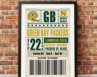 Green Bay Packers Retro Ticket Print