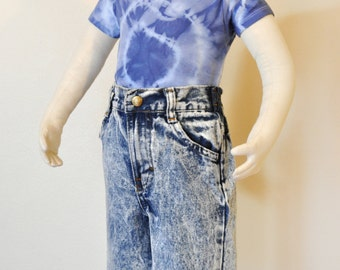 "Blue Kids 12 Months Jean Pants - Stone Wash Blue Denim Liberty Pants Jeans - Childs Toddler 12 Months (18"" Waist x 9"" L)"