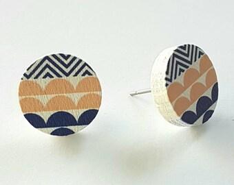 Wooden hand painted stud earrings.