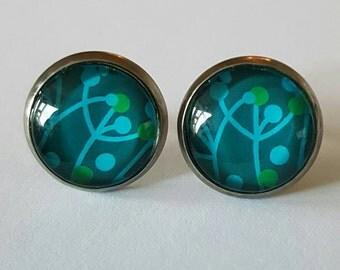 SALE Glass cabochon stud earrings.