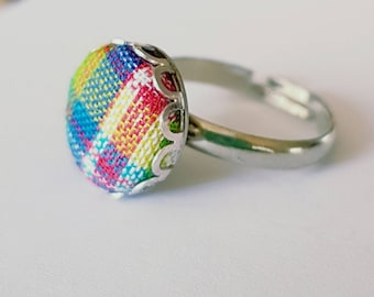 Fabric button silver ring.