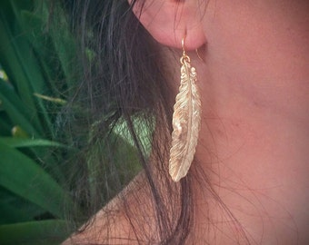 Feather Earrings Gold Feather Earrings Feather Jewelry Brass  Earrings Dangle Earrings Drop Earrings