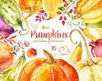 Pumpkins. 35 Watercolor Elements, handpainted clipart, fall leaves, squash, halloween, autumn, Thanksgiving, harvest, invite, greeting, diy
