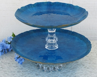 Wedding Cobalt Blue and Gold Shabby Chic Vintage Glass Hand Painted Cake or Cupcake Stand for Anniversary Shower Party or Any Occasion
