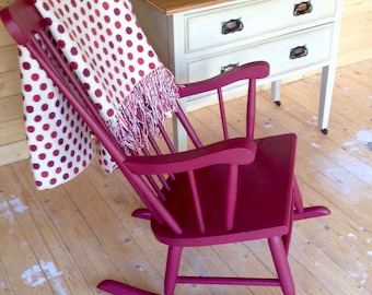 SOLD-LARGE ROCKING Chair in Solid Beechwood Hand Painted in Annie Sloan Burgundy.