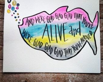 Phish - 8x10 Nursery Decor - watercolor quote art - phish lyrics - rainbow fish - adoption quote - phish baby shower gift