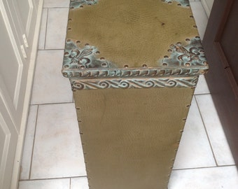 Shabby Plant Stand/Cottage Decor Rustic Night Stand/EntrywayTable/Column/Statue Display/ Podium/French Country Porch Table/End Table