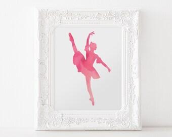 Pink Ballerina  - DIGITAL DOWNLOAD Print, 8x10, Nursery Print, Girls Room Art, Kids Digital Download, Kids Room decor, Pink Ballet 3