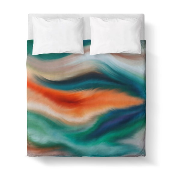 Abstract Watercolor Teal Orange Green Blue Duvet Cover