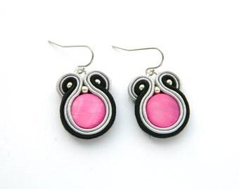 pink earrings, black earrings, gray earrings, multicolored jewelry, soutache earrings, small earrings, everyday earrings, dangle earrings