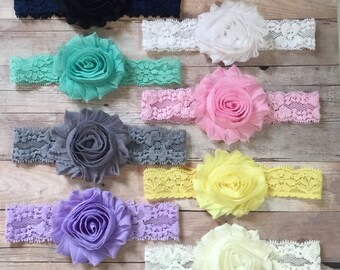 8 Baby Girl Headbands, Baby Lace Headbands, Shabby Chic Headbands, Newborn Headbands, Toddler Headbands, Baby Headband Set, Baby shower gift