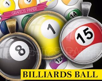 "Billiards balls Bottlecap images Pendant round download Printable 1.5"", 1.25"", 30mm, 1 inch printable circles digital collage sheet - td299"
