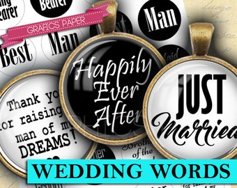 """Inspirational Words Marriage Wedding, Digital Collage Sheet 1 inch Circles, 1.5"""", 1.25"""", 30mm Circle Images, Round for pendant - td422"""